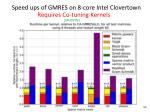speed ups of gmres on 8 core intel clovertown