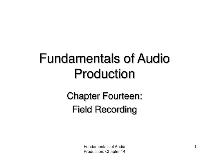 fundamentals of audio production n.