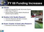 fy 08 funding increases