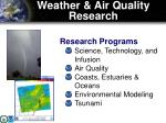 weather air quality research