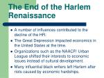 the end of the harlem renaissance