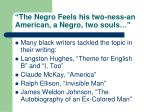 the negro feels his two ness an american a negro two souls