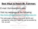 best ways to reach mr fuhrman