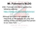 mr fuhrman s blog