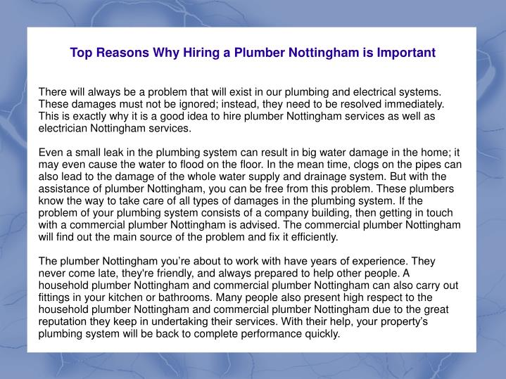 top reasons why hiring a plumber nottingham is important n.