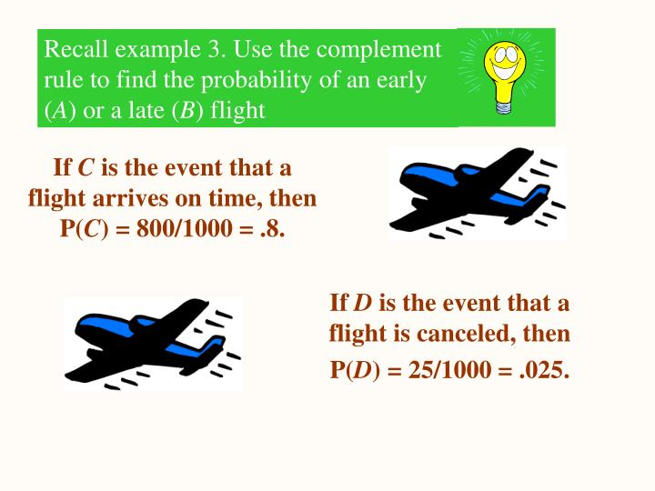 Recall example 3. Use the complement rule to find the probability of an early (