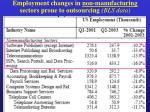 employment changes in non manufacturing sectors prone to outsourcing bls data
