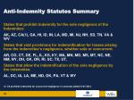 anti indemnity statutes summary