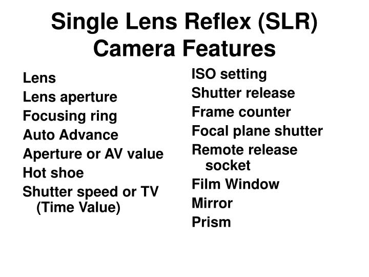 Single lens reflex slr camera features
