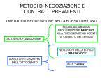metodi di negoziazione e contratti prevalenti