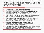 what are the key areas of the specification