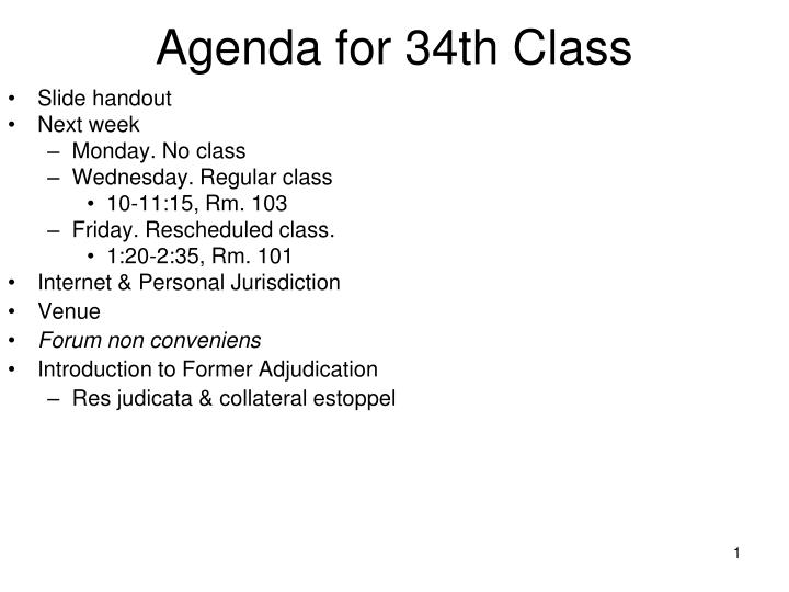agenda for 34th class n.