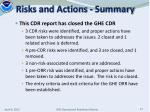 risks and actions summary