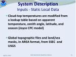 system description inputs static local data