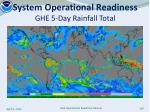 system operational readiness ghe 5 day rainfall total