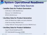 system operational readiness input data sources