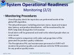 system operational readiness monitoring 2 2