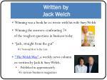 written by jack welch