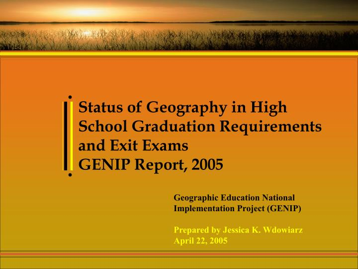 Status of Geography in High School Graduation Requirements