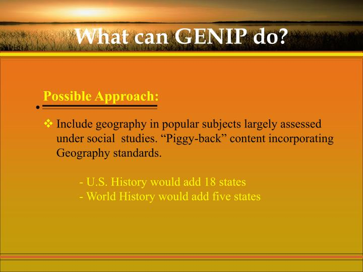 What can GENIP do?