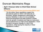 duncan maintains regs
