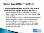 phase two draft metrics
