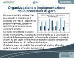organizzazione e implementazione della procedura di gara