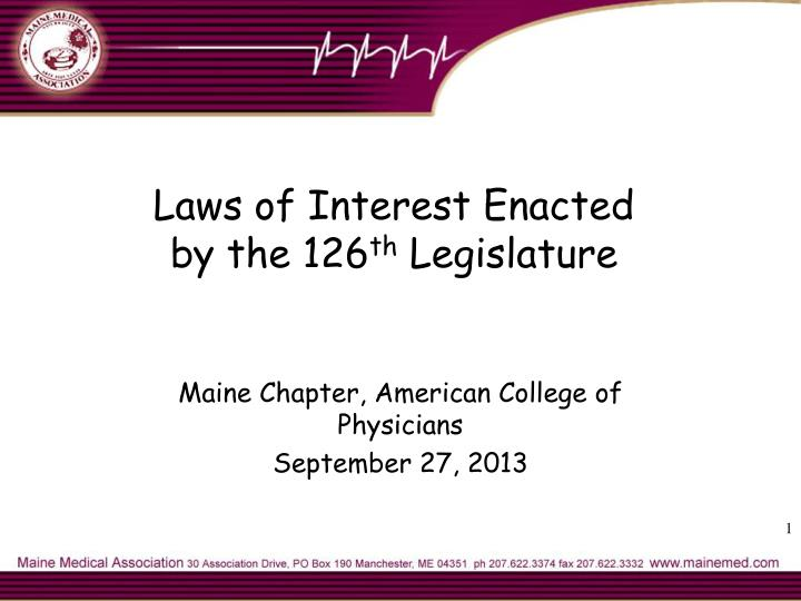 laws of interest enacted by the 126 th legislature n.