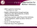 opportunities for member advocacy