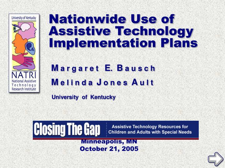 nationwide use of assistive technology implementation plans n.