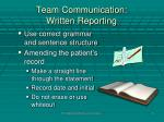 team communication written reporting1