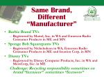 same brand different manufacturer