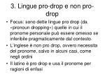 3 lingue pro drop e non pro drop