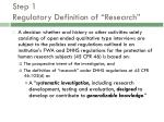 step 1 regulatory definition of research