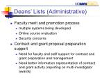 deans lists administrative