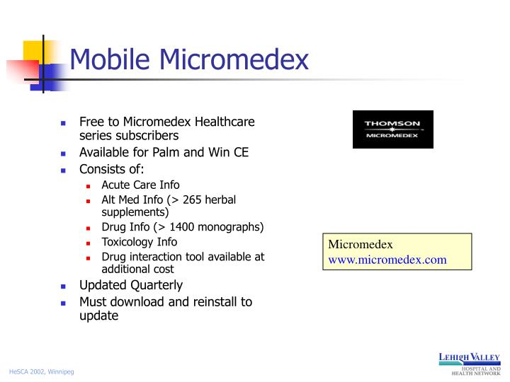 Free to Micromedex Healthcare series subscribers