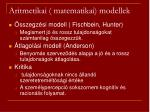 aritmetikai matematikai modellek