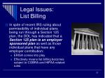 legal issues list billing