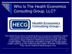 who is the health economics consulting group llc
