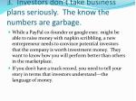 3 investors don t take business plans seriously the know the numbers are garbage