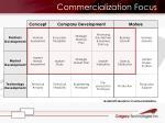 commercialization focus