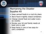 maintaining the disaster supplies kit
