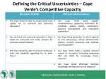 defining the critical uncertainties cape verde s competitive capacity