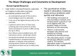 the major challenges and constraints to development1