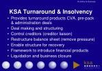 ksa turnaround insolvency