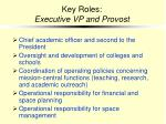 key roles executive vp and provost