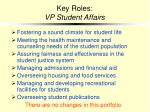 key roles vp student affairs