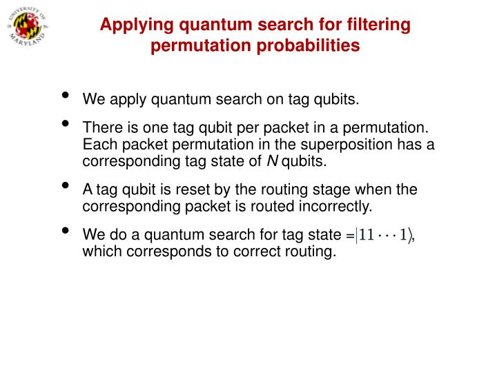 Applying quantum search for filtering permutation probabilities