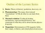 outline of the lecture series