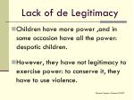lack of de legitimacy